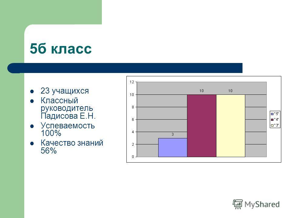 5б класс 23 учащихся Классный руководитель Падисова Е.Н. Успеваемость 100% Качество знаний 56%