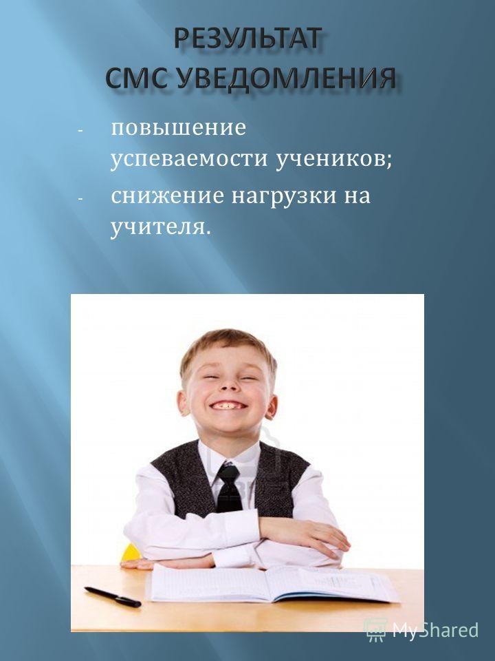 - повышение успеваемости учеников; - снижение нагрузки на учителя.