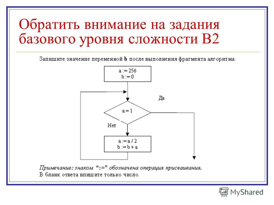 Обратить внимание на задания базового уровня сложности В2