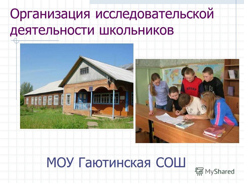 Организация исследовательской деятельности школьников МОУ Гаютинская СОШ