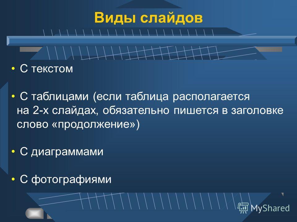 С текстом С таблицами (если таблица располагается на 2-х слайдах, обязательно пишется в заголовке слово «продолжение») С диаграммами С фотографиями Виды слайдов