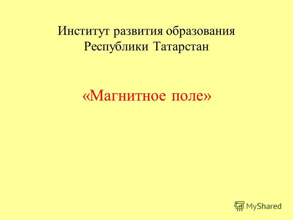 Институт развития образования Республики Татарстан «Магнитное поле»
