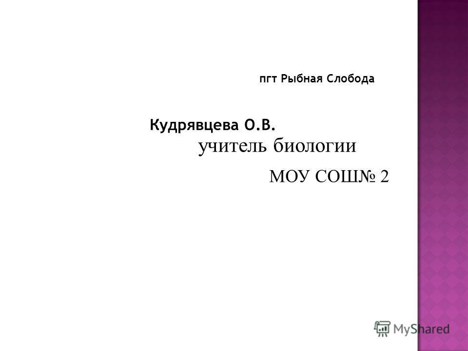 пгт Рыбная Слобода Кудрявцева О.В. учитель биологии МОУ СОШ 2