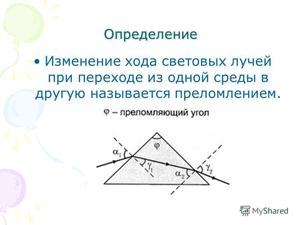 Определение Изменение хода световых лучей при переходе из одной среды в другую называется преломлением.