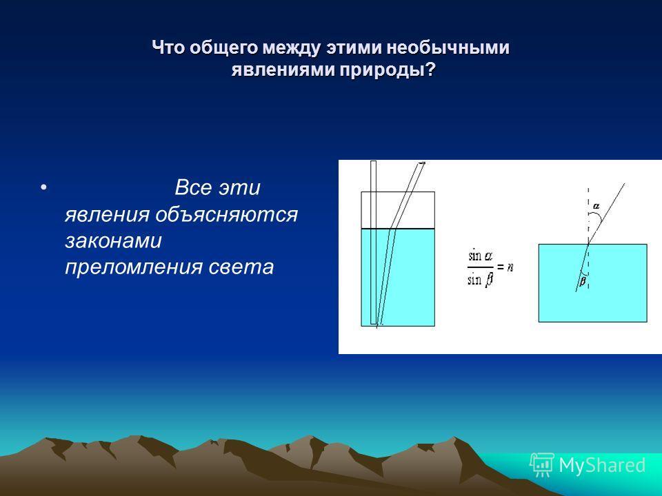 Что общего между этими необычными явлениями природы? Все эти явления объясняются законами преломления света