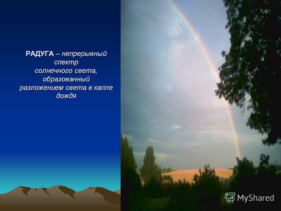 РАДУГА – непрерывный спектр солнечного света, образованный разложением света в капле дождя