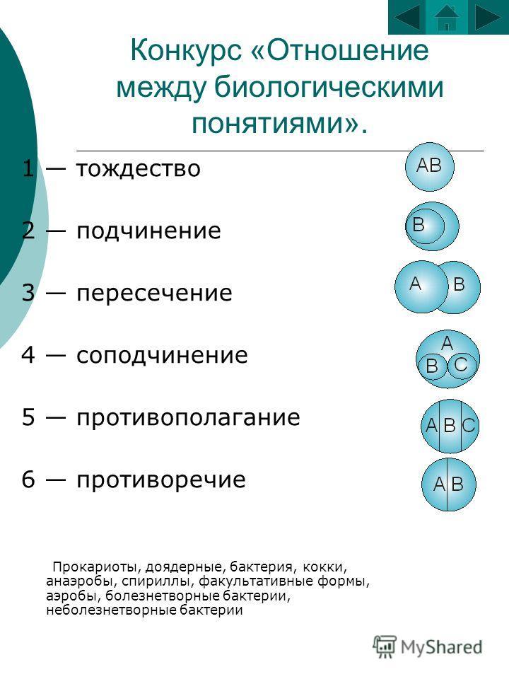 Конкурс «Отношение между биологическими понятиями». 1 тождество 2 подчинение 3 пересечение 4 соподчинение 5 противополагание 6 противоречие Прокариоты, доядерные, бактерия, кокки, анаэробы, спириллы, факультативные формы, аэробы, болезнетворные бакте