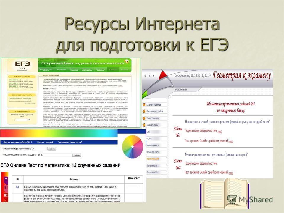 Ресурсы Интернета для подготовки к ЕГЭ