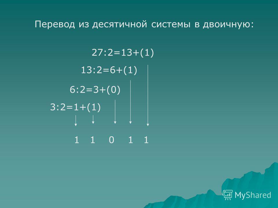 Перевод из десятичной системы в двоичную: 27:2=13+(1) 13:2=6+(1) 6:2=3+(0) 3:2=1+(1) 1 1 0 1 1