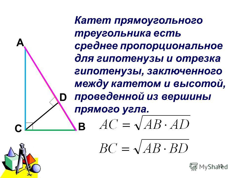 2011 г.13 А В С D Катет прямоугольного треугольника есть среднее пропорциональное для гипотенузы и отрезка гипотенузы, заключенного между катетом и высотой, проведенной из вершины прямого угла.