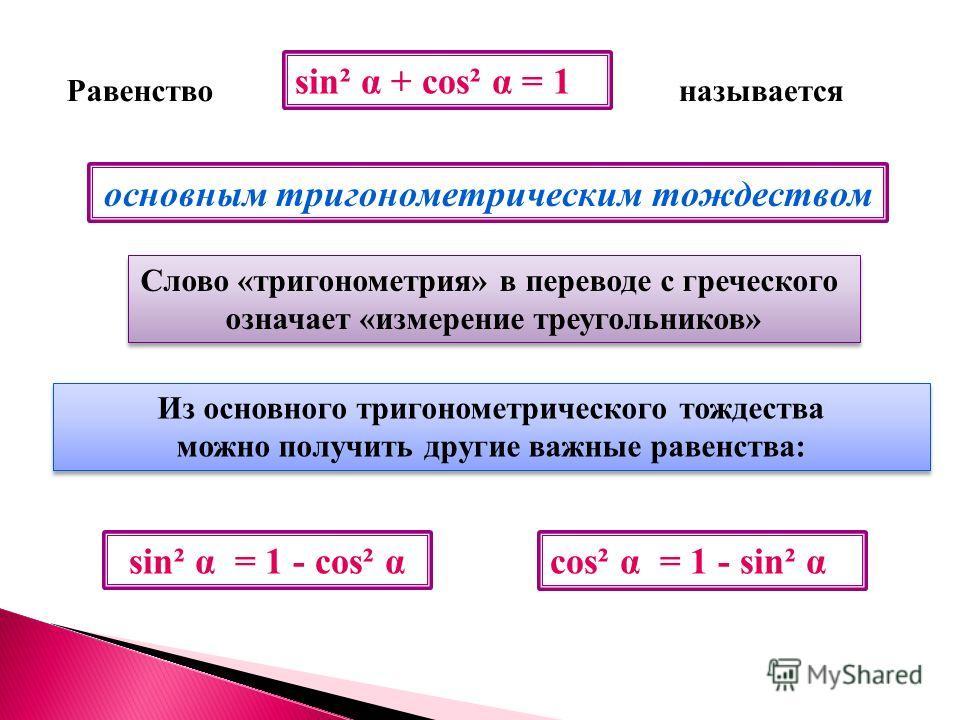 Равенствоназывается основным тригонометрическим тождеством Слово «тригонометрия» в переводе с греческого означает «измерение треугольников» Слово «тригонометрия» в переводе с греческого означает «измерение треугольников» Из основного тригонометрическ