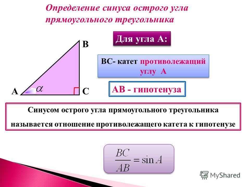 А В С ВС- катет противолежащий углу А ВС- катет противолежащий углу А АВ - гипотенуза Синусом острого угла прямоугольного треугольника называется отношение противолежащего катета к гипотенузе Определение синуса острого угла прямоугольного треугольник