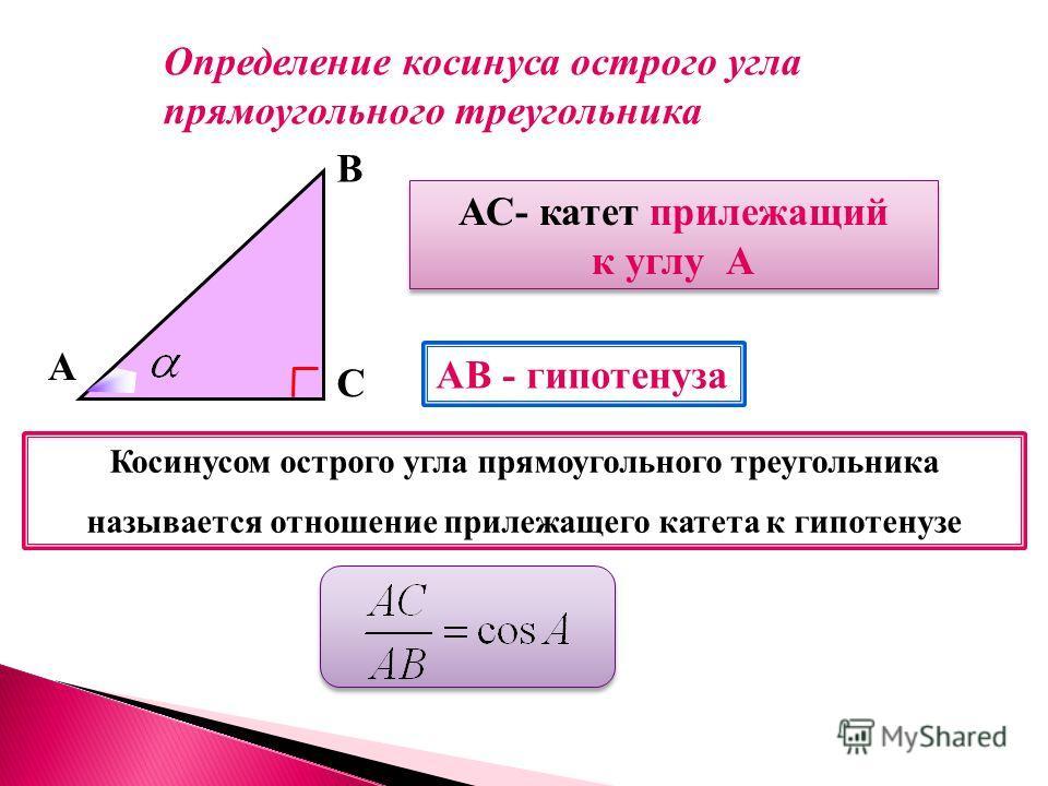 А В С АС- катет прилежащий к углу А АС- катет прилежащий к углу А АВ - гипотенуза Косинусом острого угла прямоугольного треугольника называется отношение прилежащего катета к гипотенузе Определение косинуса острого угла прямоугольного треугольника