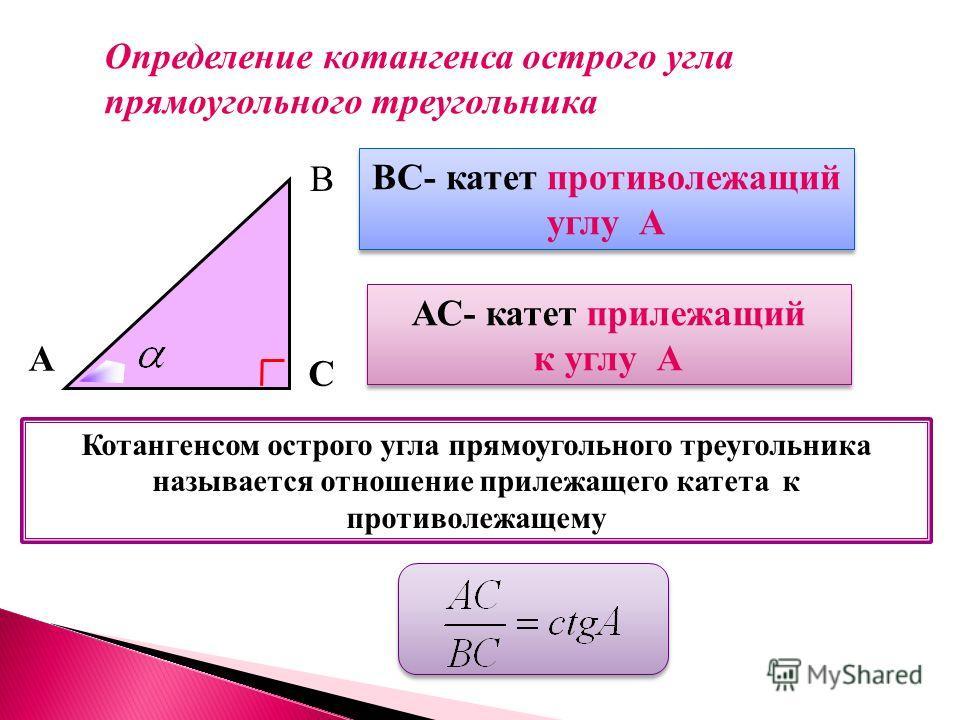 А В С ВС- катет противолежащий углу А ВС- катет противолежащий углу А АС- катет прилежащий к углу А АС- катет прилежащий к углу А Котангенсом острого угла прямоугольного треугольника называется отношение прилежащего катета к противолежащему Определен