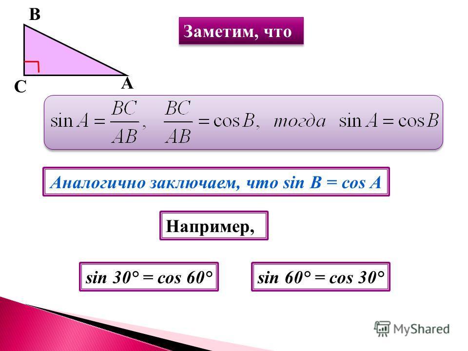 А В С Заметим, что Например, Аналогично заключаем, что sin B = cos A sin 30° = cos 60°sin 60° = cos 30°