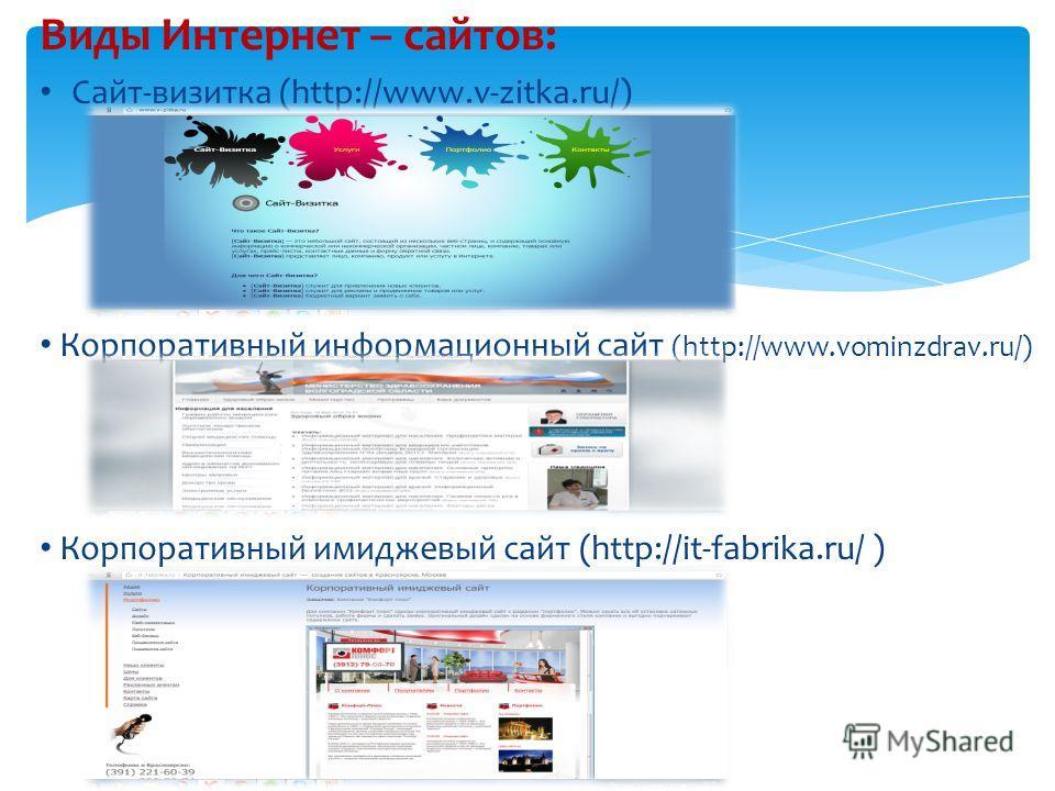 Виды Интернет – сайтов: Сайт-визитка (http://www.v-zitka.ru/) Корпоративный информационный сайт (http://www.vominzdrav.ru/) Корпоративный имиджевый сайт (http://it-fabrika.ru/ )