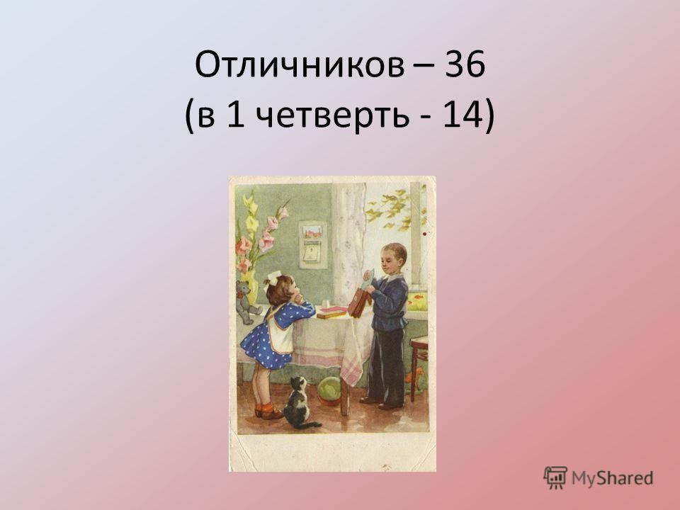 Отличников – 36 (в 1 четверть - 14)