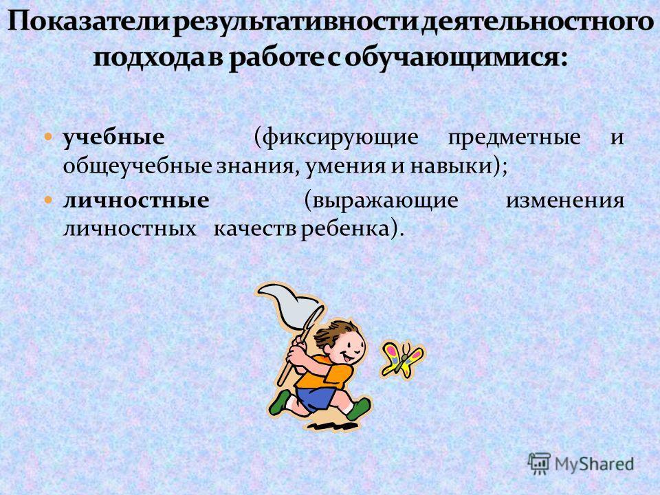 учебные (фиксирующие предметные и общеучебные знания, умения и навыки); личностные (выражающие изменения личностных качеств ребенка).