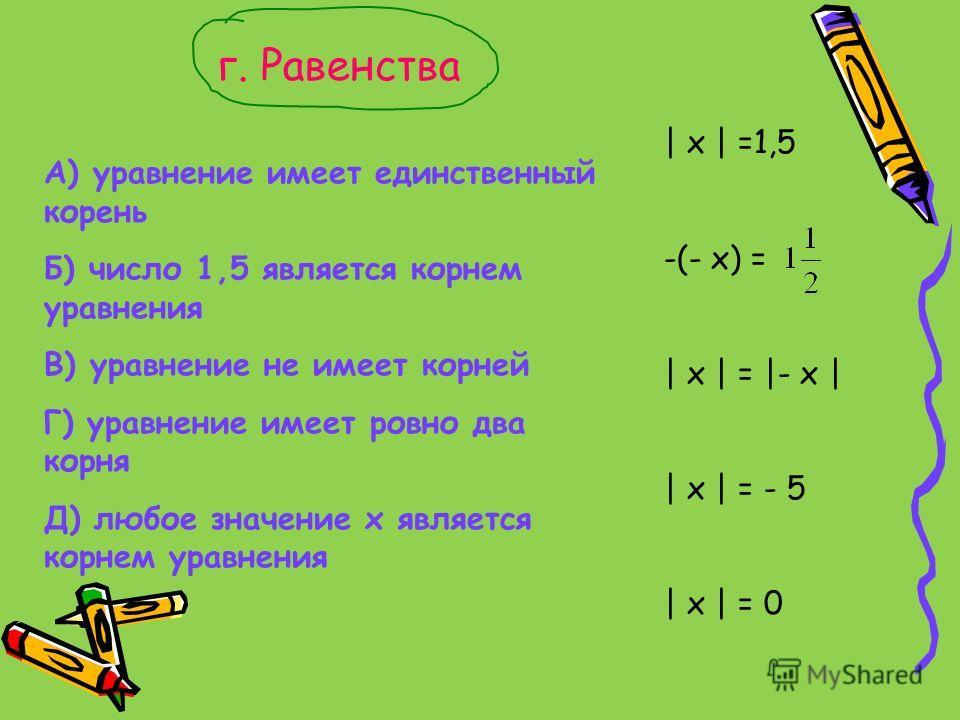 г. Равенства А) уравнение имеет единственный корень Б) число 1,5 является корнем уравнения В) уравнение не имеет корней Г) уравнение имеет ровно два корня Д) любое значение х является корнем уравнения | x | =1,5 -(- x) = | x | = |- x | | x | = - 5 |