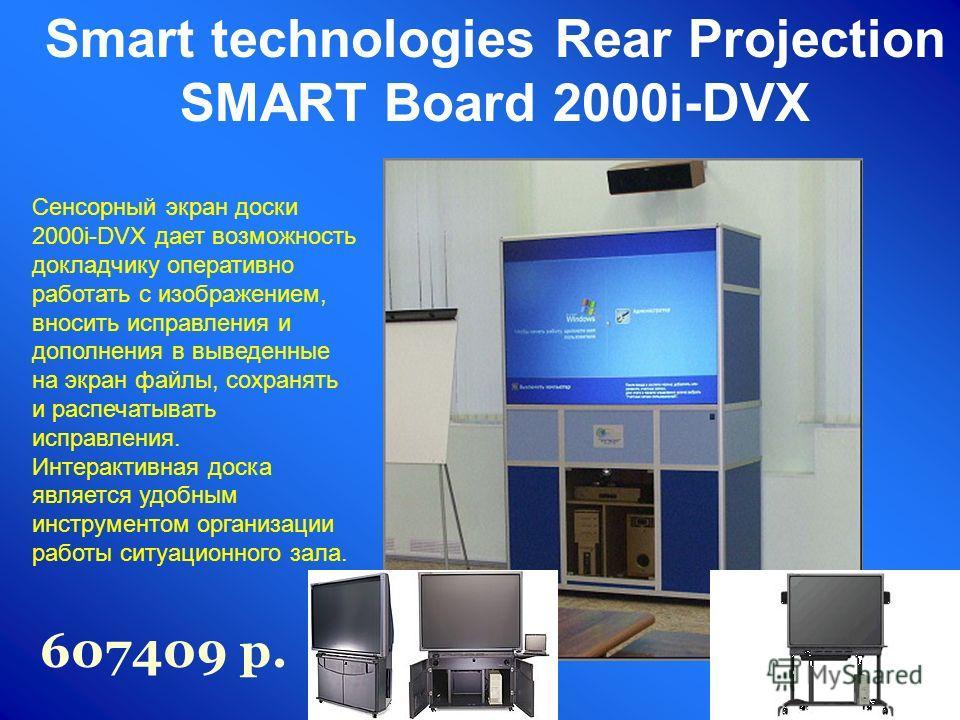 Сенсорный экран доски 2000i-DVX дает возможность докладчику оперативно работать с изображением, вносить исправления и дополнения в выведенные на экран файлы, сохранять и распечатывать исправления. Интерактивная доска является удобным инструментом орг
