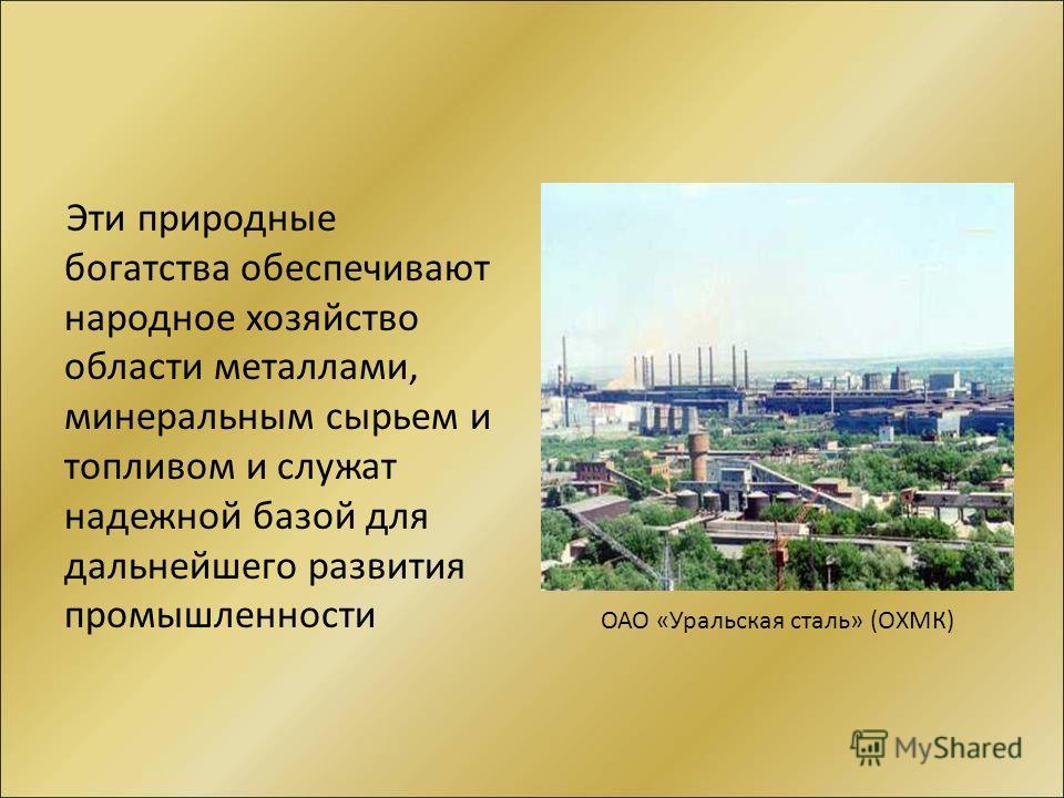 Эти природные богатства обеспечивают народное хозяйство области металлами, минеральным сырьем и топливом и служат надежной базой для дальнейшего развития промышленности ОАО «Уральская сталь» (ОХМК)