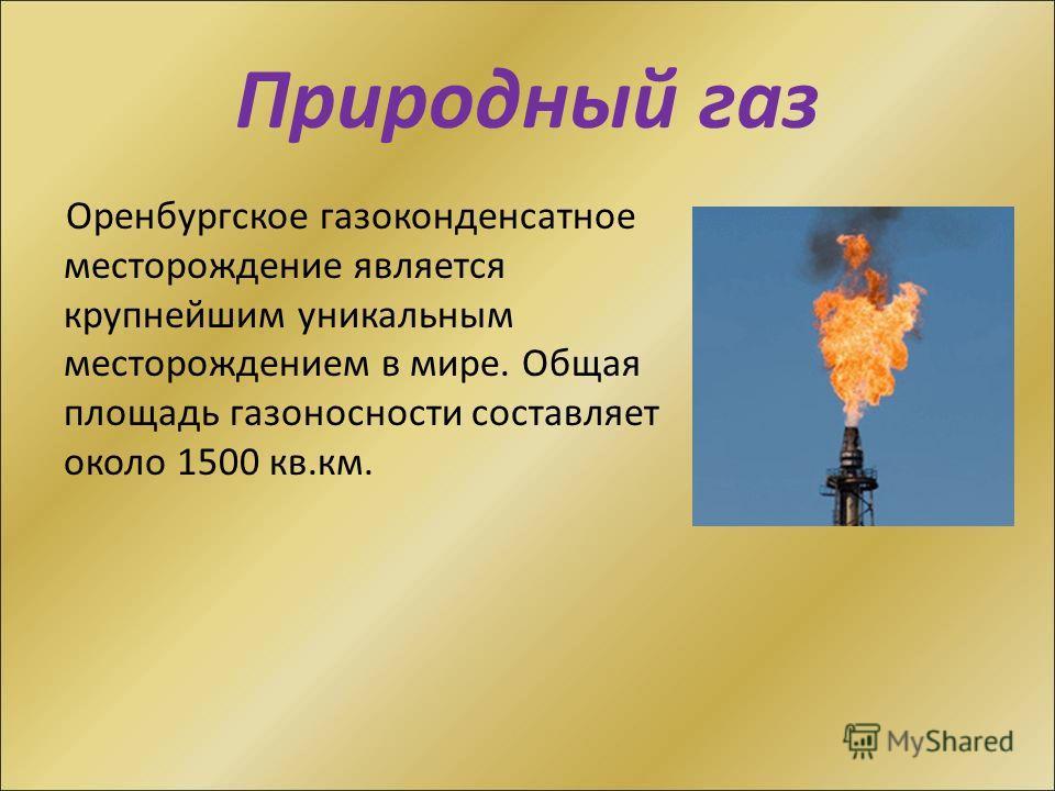 Природный газ Оренбургское газоконденсатное месторождение является крупнейшим уникальным месторождением в мире. Общая площадь газоносности составляет около 1500 кв.км.