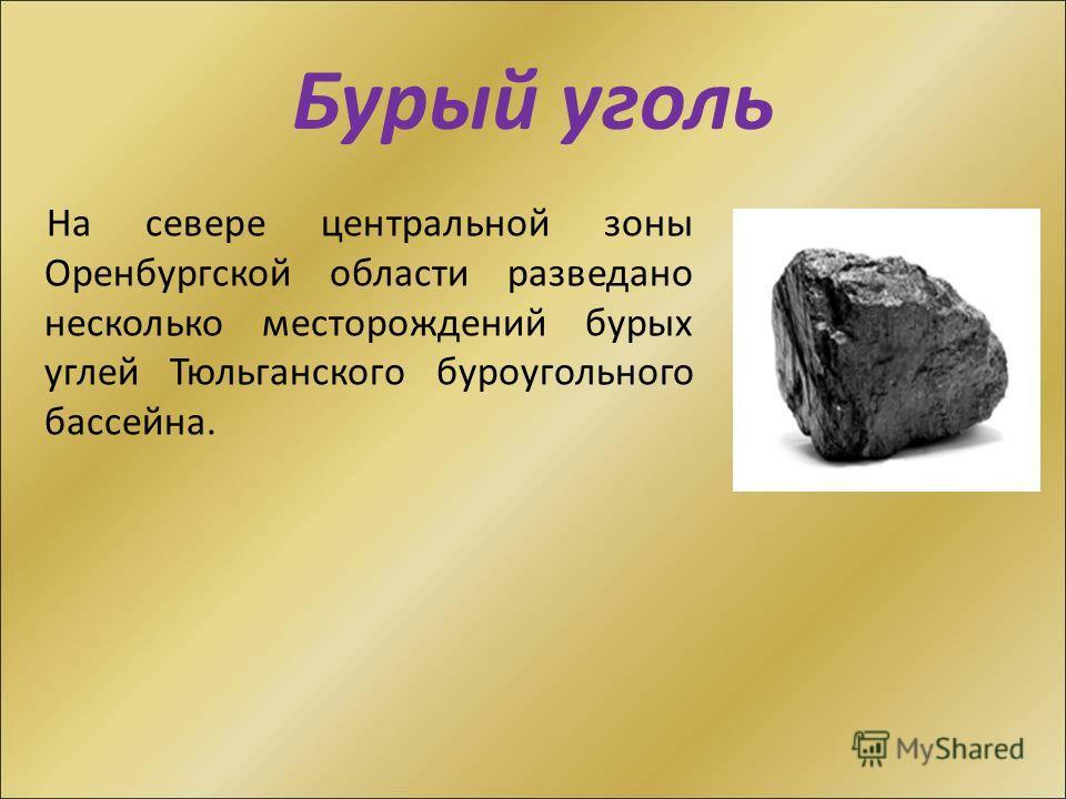 Бурый уголь На севере центральной зоны Оренбургской области разведано несколько месторождений бурых углей Тюльганского буроугольного бассейна.