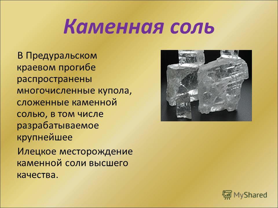 Каменная соль В Предуральском краевом прогибе распространены многочисленные купола, сложенные каменной солью, в том числе разрабатываемое крупнейшее Илецкое месторождение каменной соли высшего качества.