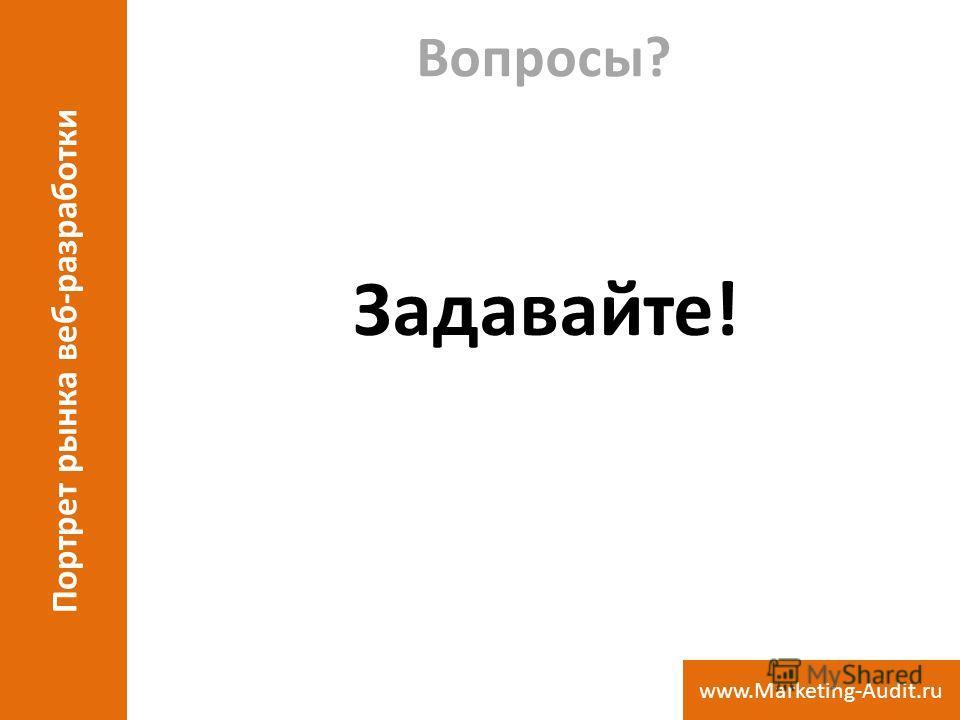Вопросы? Задавайте! Портрет рынка веб-разработки www.Marketing-Audit.ru