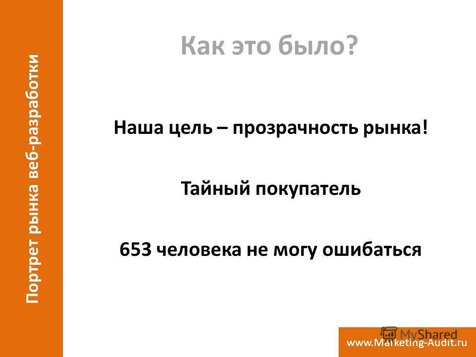 Как это было? Наша цель – прозрачность рынка! Тайный покупатель 653 человека не могу ошибаться Портрет рынка веб-разработки www.Marketing-Audit.ru