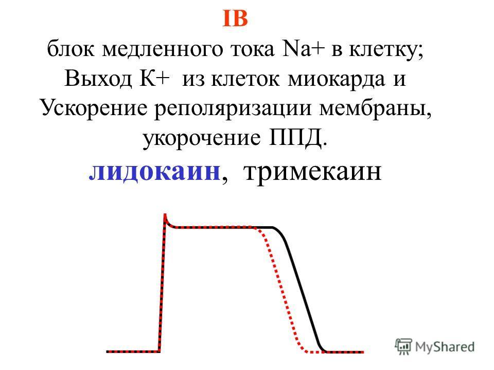 IB блок медленного тока Na+ в клетку; Выход К+ из клеток миокарда и Ускорение реполяризации мембраны, укорочение ППД. лидокаин, тримекаин
