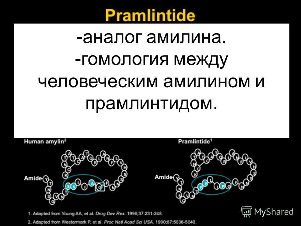 -аналог амилина. -гомология между человеческим амилином и прамлинтидом.