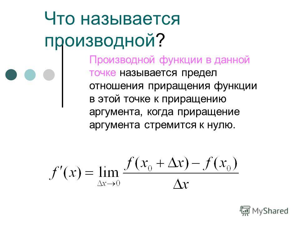 Что называется производной? Производной функции в данной точке называется предел отношения приращения функции в этой точке к приращению аргумента, когда приращение аргумента стремится к нулю.