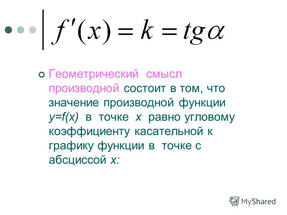 Геометрический смысл производной состоит в том, что значение производной функции y=f(x) в точке x равно угловому коэффициенту касательной к графику функции в точке с абсциссой x: