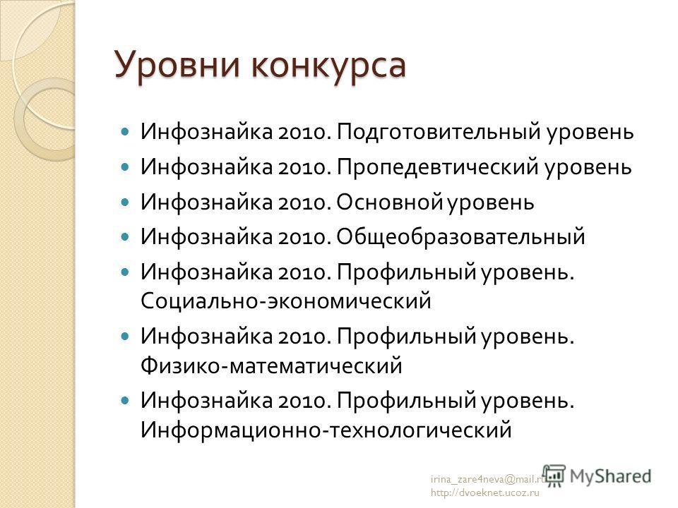 Уровни конкурса Инфознайка 2010. Подготовительный уровень Инфознайка 2010. Пропедевтический уровень Инфознайка 2010. Основной уровень Инфознайка 2010. Общеобразовательный Инфознайка 2010. Профильный уровень. Социально - экономический Инфознайка 2010.