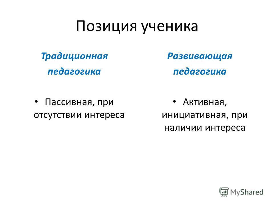 Позиция ученика Традиционная педагогика Пассивная, при отсутствии интереса Развивающая педагогика Активная, инициативная, при наличии интереса