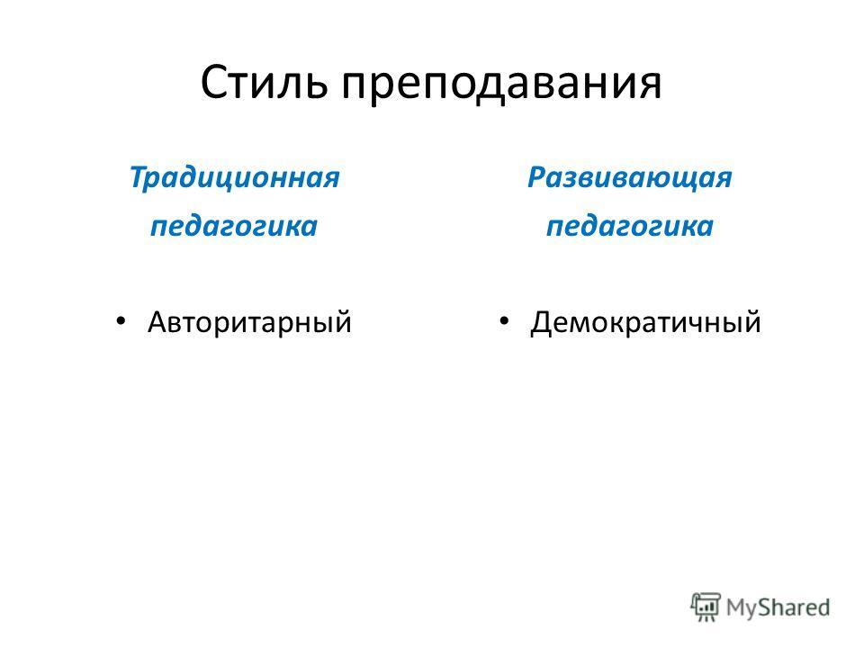 Стиль преподавания Традиционная педагогика Авторитарный Развивающая педагогика Демократичный
