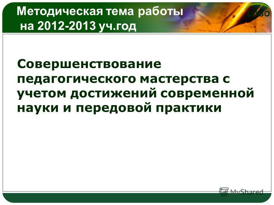LOGO Методическая тема работы на 2012-2013 уч.год Совершенствование педагогического мастерства с учетом достижений современной науки и передовой практики