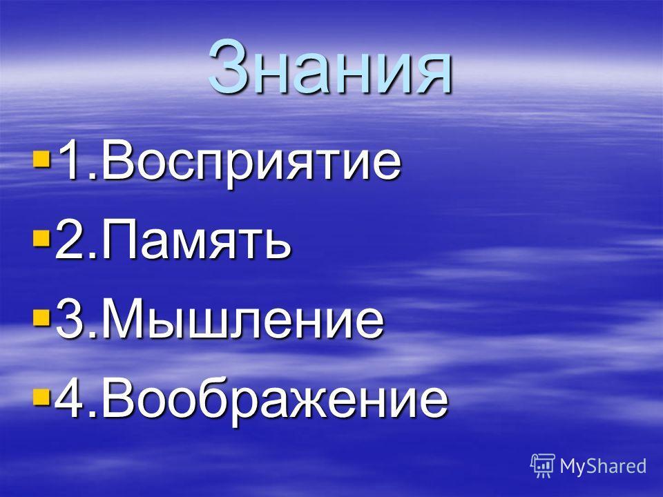 Знания 1.Восприятие 1.Восприятие 2.Память 2.Память 3.Мышление 3.Мышление 4.Воображение 4.Воображение