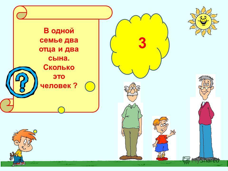 В одной семье два отца и два сына. Сколько это человек ? 3