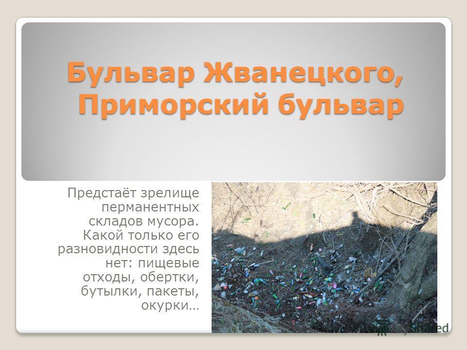 Бульвар Жванецкого, Приморский бульвар Предстаёт зрелище перманентных складов мусора. Какой только его разновидности здесь нет: пищевые отходы, обертки, бутылки, пакеты, окурки…