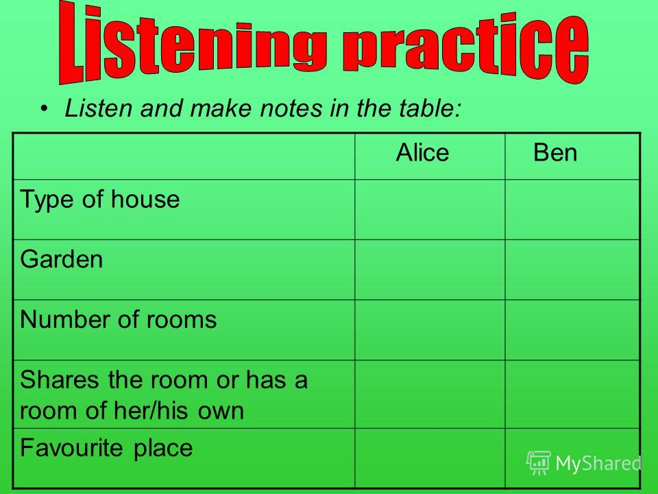 Listen and make notes in the table: Alice Ben Type of house Garden Number of rooms Shares the room or has a room of her/his own Favourite place