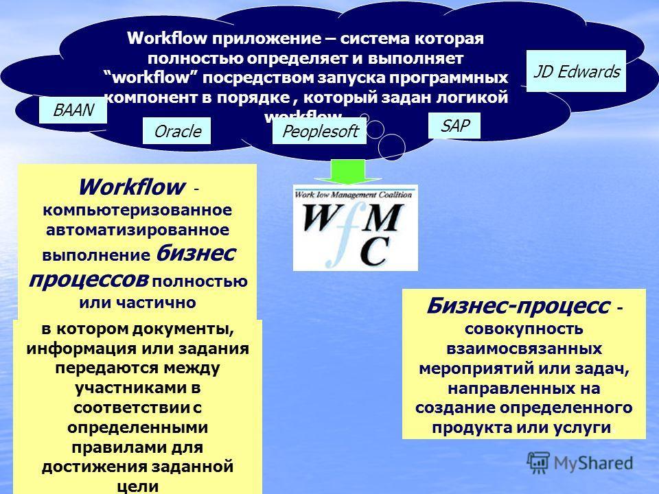 Workflow приложение – система которая полностью определяет и выполняет workflow посредством запуска программных компонент в порядке, который задан логикой workflow. Workflow - компьютеризованное автоматизированное выполнение бизнес процессов полность