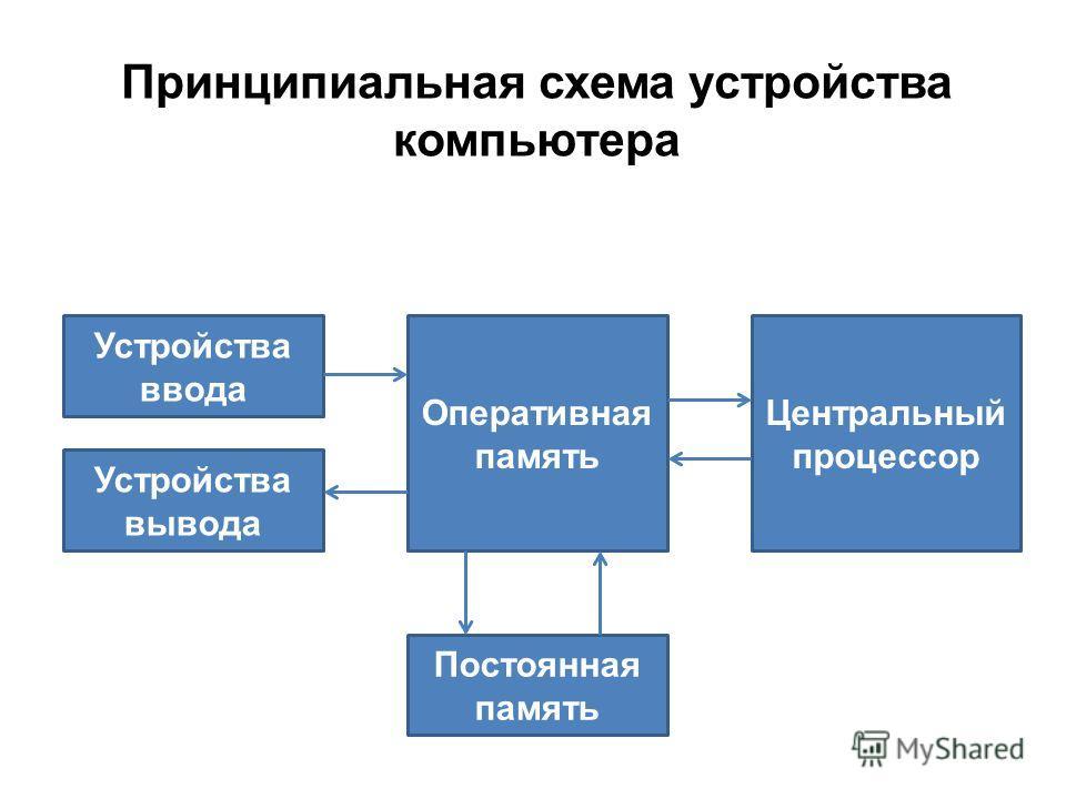 Устройства ввода Устройства вывода Оперативная память Постоянная память Центральный процессор Принципиальная схема устройства компьютера