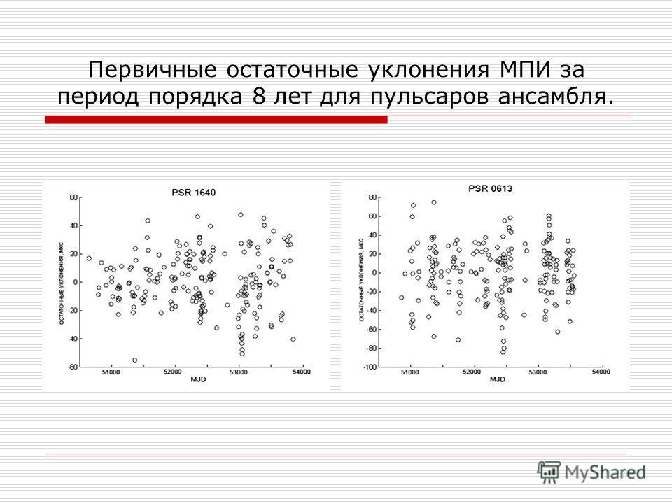 Первичные остаточные уклонения МПИ за период порядка 8 лет для пульсаров ансамбля.