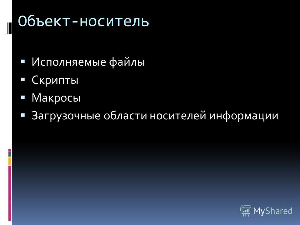Объект-носитель Исполняемые файлы Скрипты Макросы Загрузочные области носителей информации