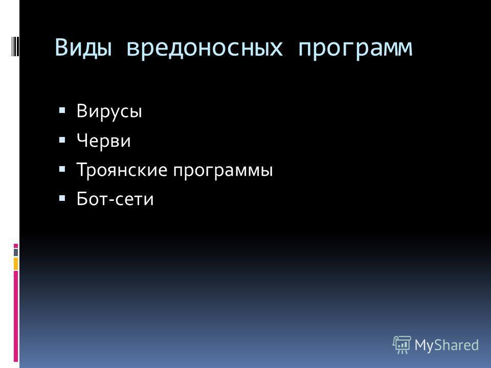 Виды вредоносных программ Вирусы Черви Троянские программы Бот-сети
