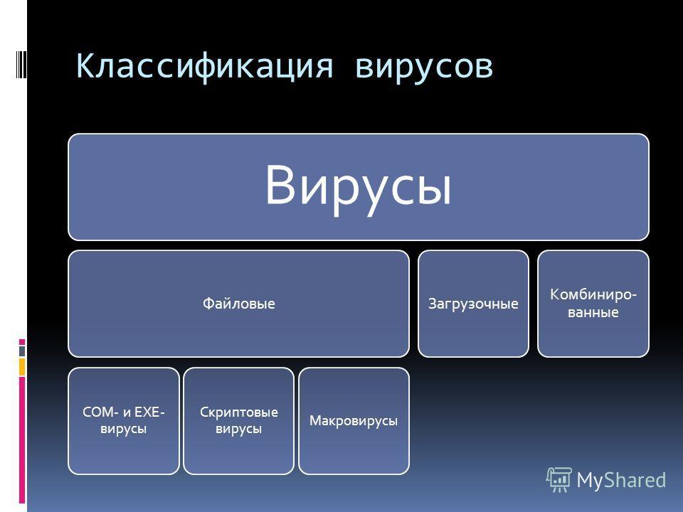 Классификация вирусов Вирусы Файловые COM- и EXE- вирусы Скриптовые вирусы Макровирусы Загрузочные Комбиниро- ванные