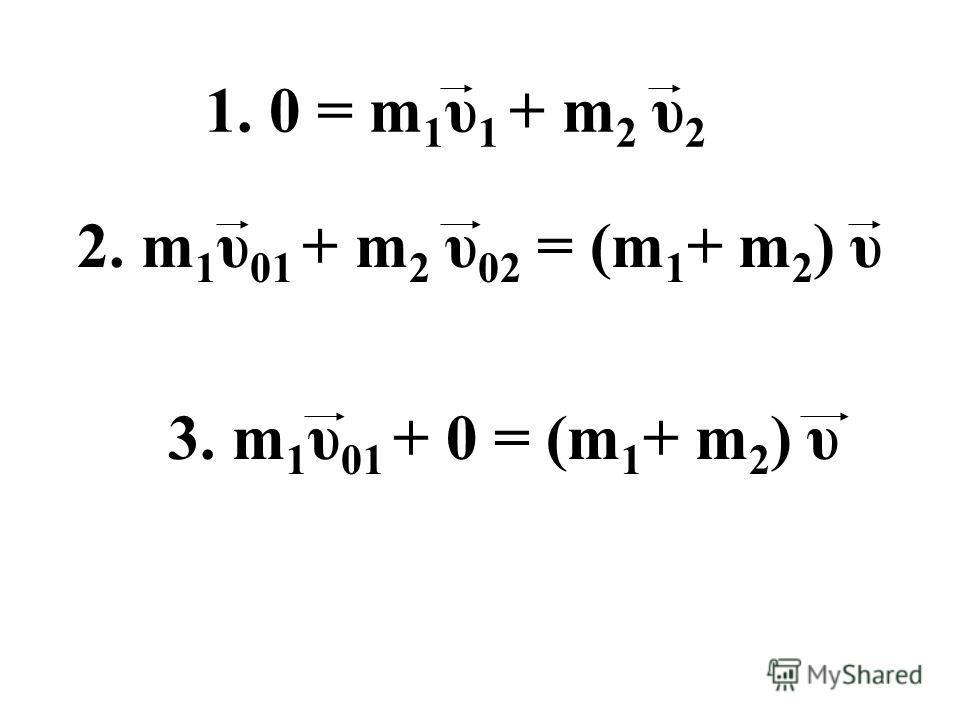 1. 0 = m 1 υ 1 + m 2 υ 2 2. m 1 υ 01 + m 2 υ 02 = (m 1 + m 2 ) υ 3. m 1 υ 01 + 0 = (m 1 + m 2 ) υ