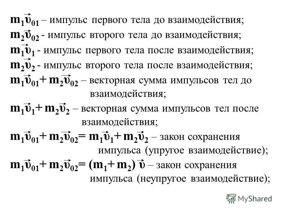 m 1 υ 01 – импульс первого тела до взаимодействия; m 2 υ 02 - импульс второго тела до взаимодействия; m 1 υ 1 - импульс первого тела после взаимодействия; m 2 υ 2 - импульс второго тела после взаимодействия; m 1 υ 01 + m 2 υ 02 – векторная сумма импу
